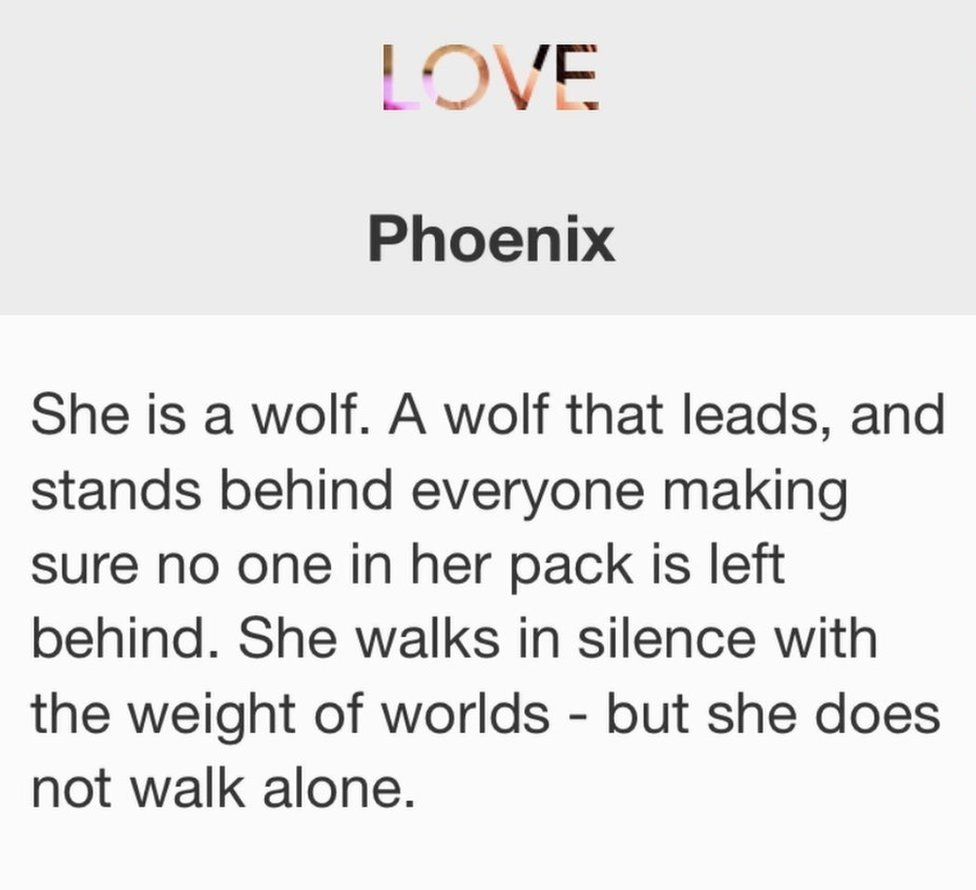 She is a wolf. A wolf that leads, and stands behind everyone making sure no one in her pack is left behind. She walks in silence with the weight of worlds - but she does not walk alone.