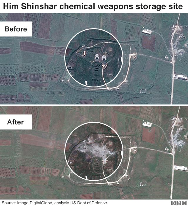 Satellite image showing Him Shinshar chemical weapons storage site before and after air strikes