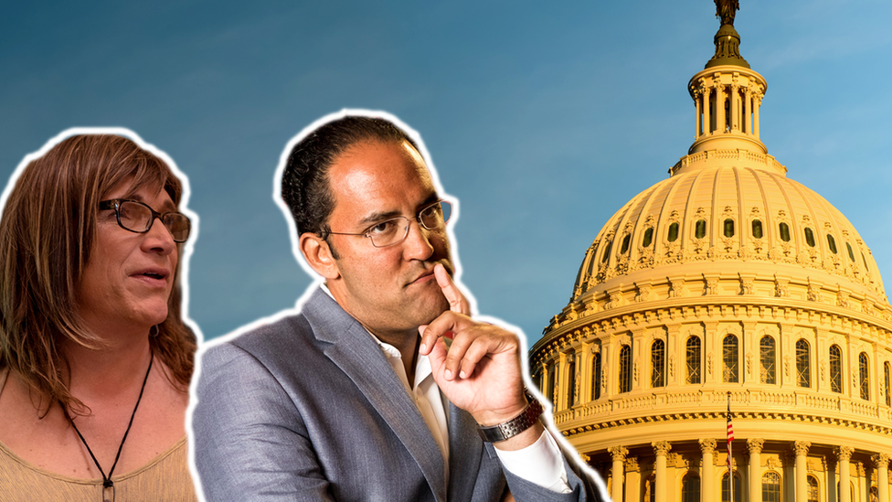 Composite image showing candidates Christine Hallquist and Will Hurd in front of the Capitol building