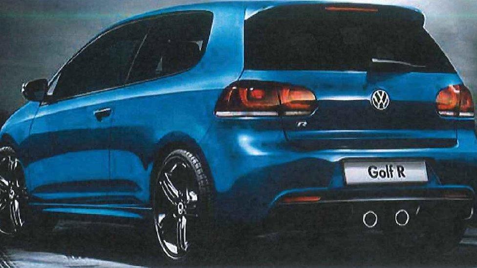 Blue VW Golf