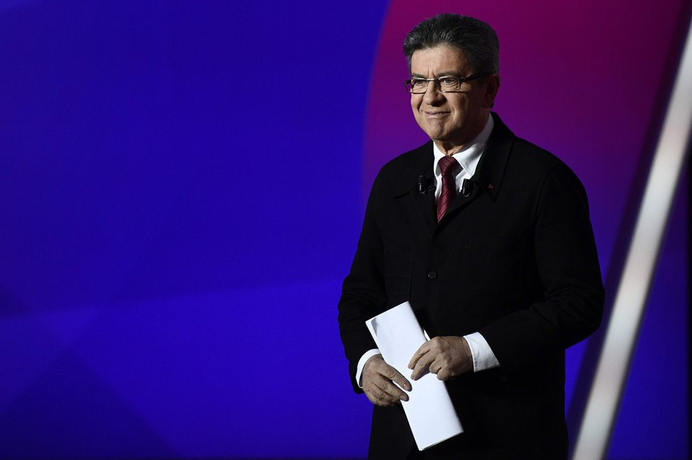 Jean-Luc Mélenchon arrives on the set of the studios of French television channel France 2 in Saint-Cloud, Paris, 20 April