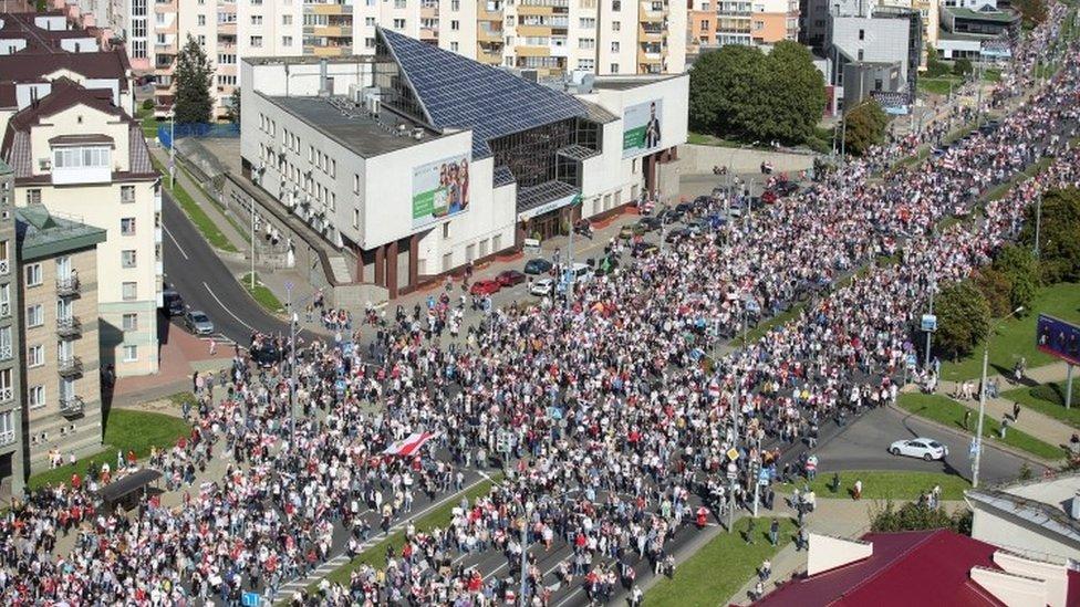 Protesters in Minsk - 13 September