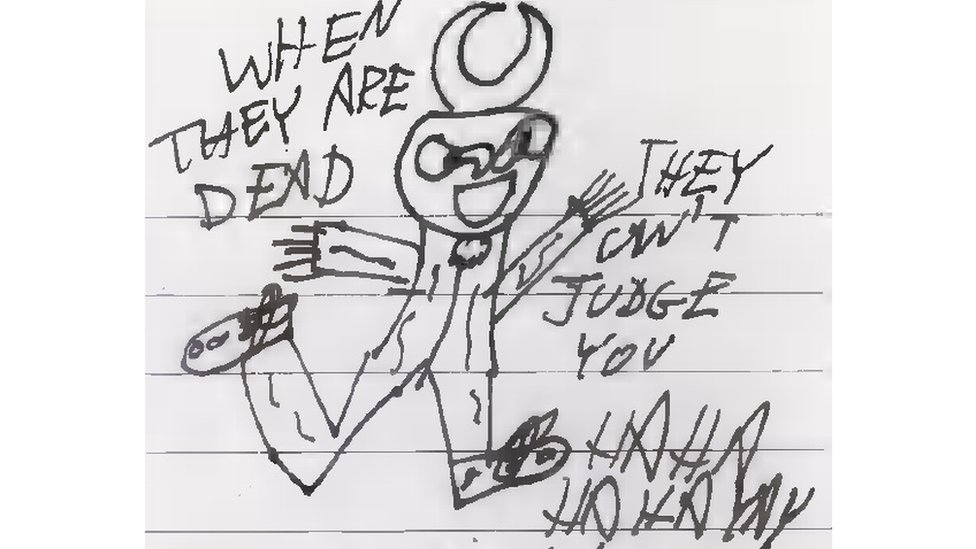 Sketch drawn by the defendant