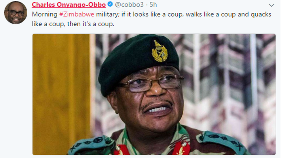 """Tweet from journalist: """"Morning #Zimbabwe military; if it looks like a coup, walks like a coup and quacks like a coup, then it's a coup."""""""