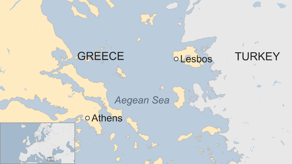 Map showing the Greek island of Lesbos and the Aegean Sea