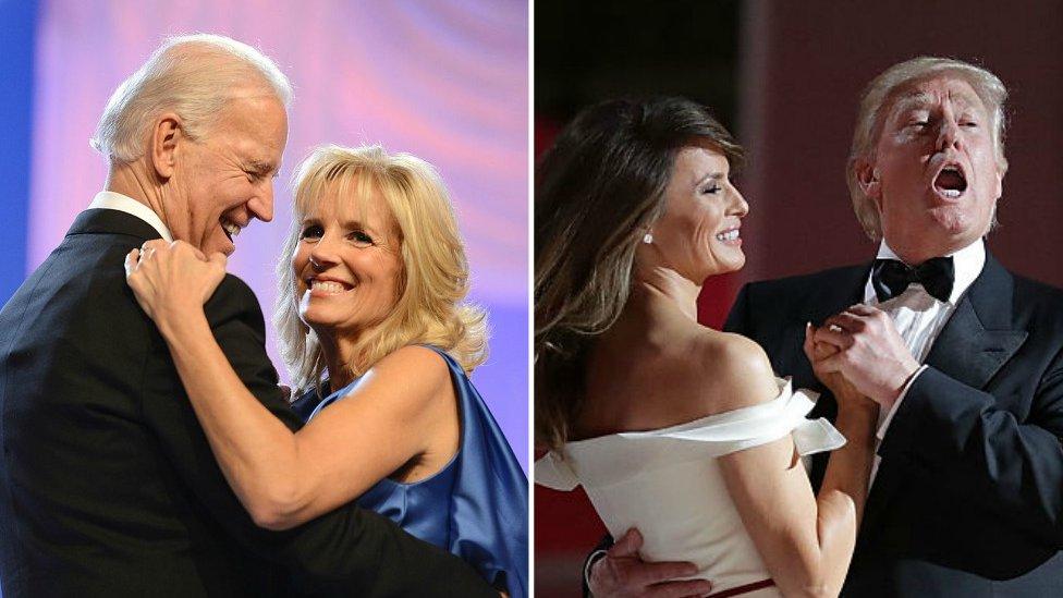 Joe and Jill Biden; and Melania and Donald Trump, dancing
