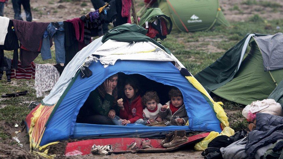 Migrant on Greece-Macedonia border, 9 March