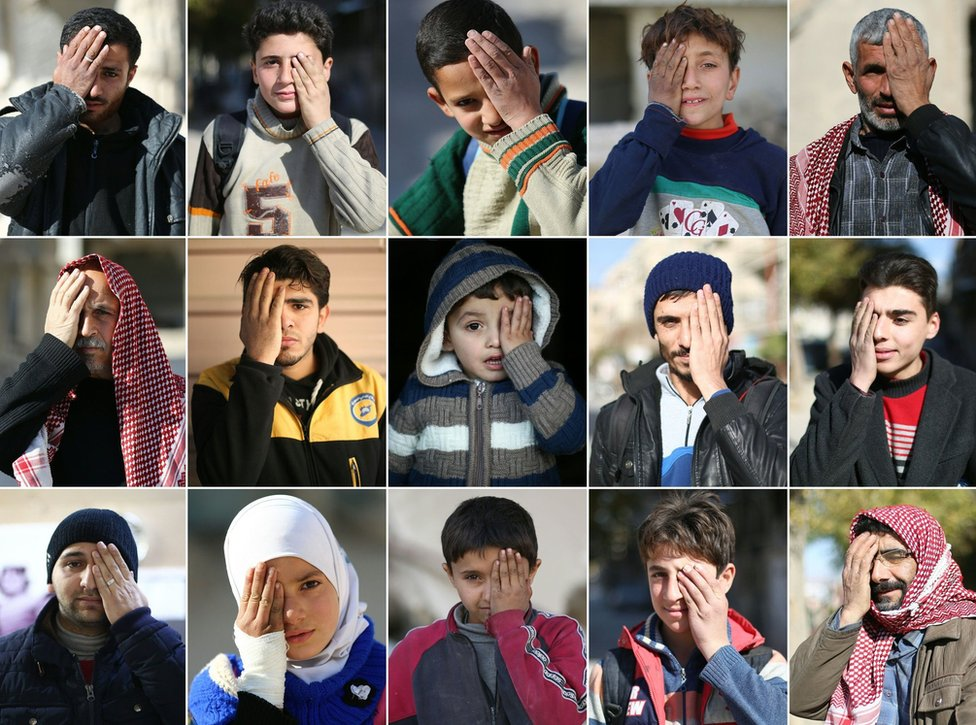 This combination of pictures created on December 19, 2017 shows Syrians covering one eye with their hands in the rebel-held town of Douma in Syria's besieged eastern Ghouta region, as part of a campaign in solidarity with a baby boy, Karim, who lost an eye, as well as his mother, in government shelling on the nearby town of Hamouria