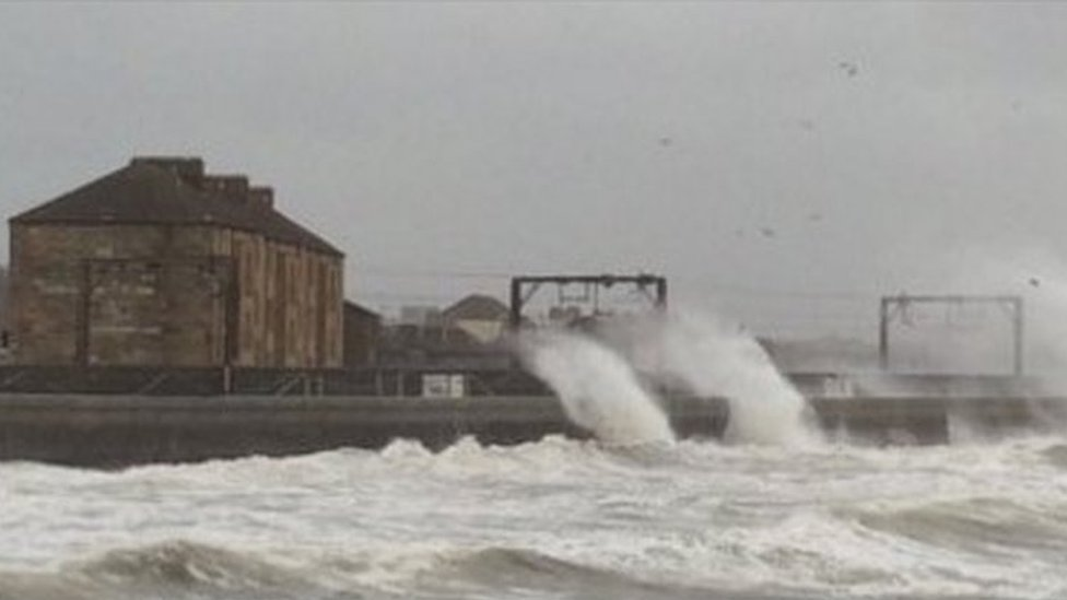 Storm surge affecting the line at Saltcoats