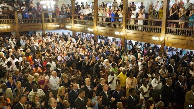 Memorial service at Morris Brown AME church on 18 June 2015