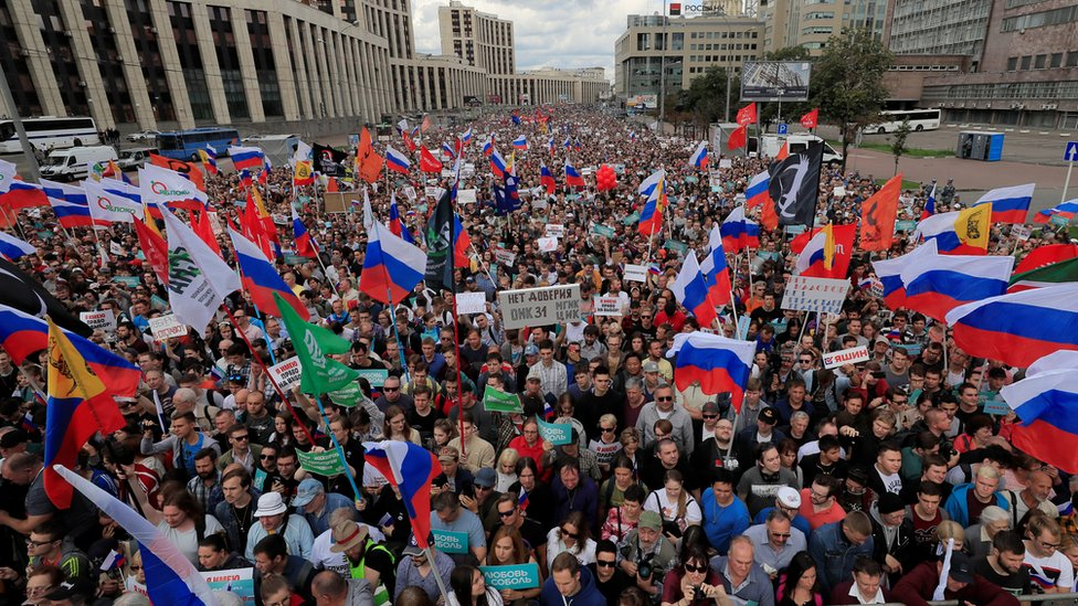 Protesters attend a rally in Moscow