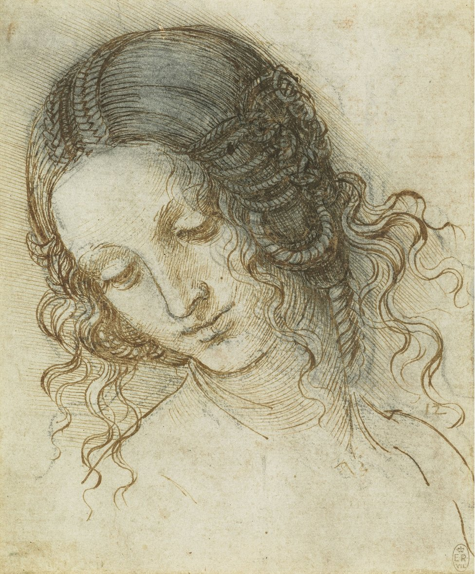 The drawing The head of Leda by Leonardo Da Vinci
