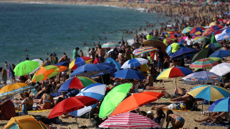 Turistas en Viña del Mar.