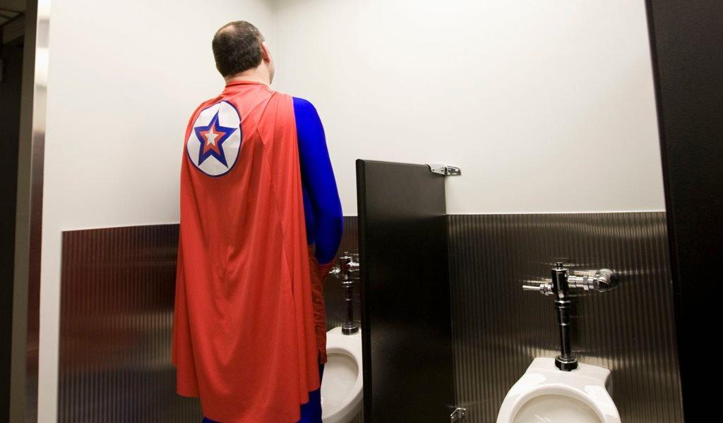 A superhero uses a urinal