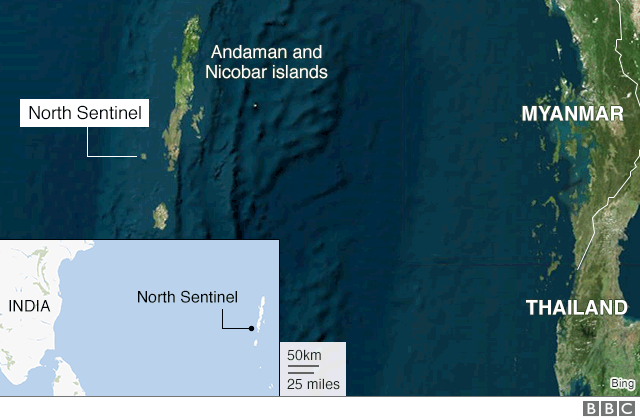Map showing the Andaman and Nicobar Islands, including North Sentinel