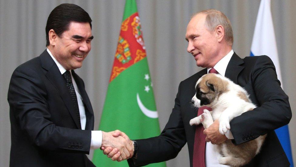 President Berdymukhamedov, Vladimir Putin and a puppy