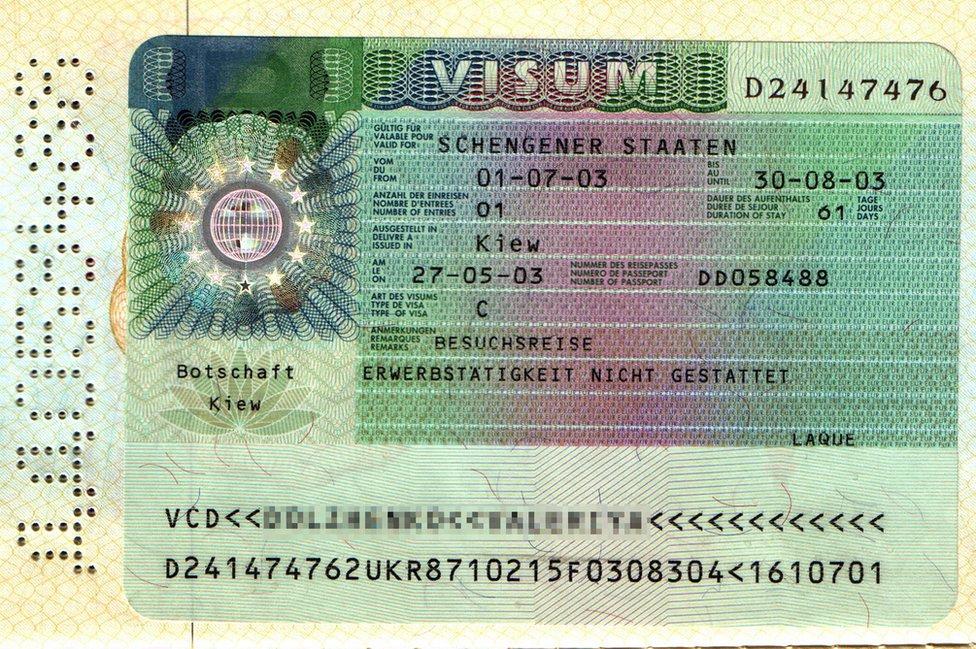 Schengen visa - file pic