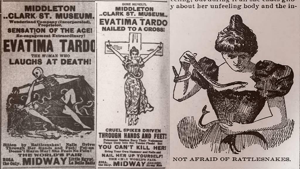 Anuncios de su programa e ilustración del Chicago Tribune de 1898 (derecha).