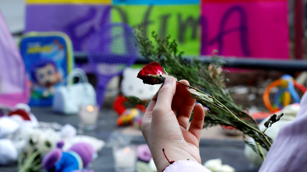 Tributes are paid to seven-year-old Fátima Aldrighett in Mexico City, 19 February 2020