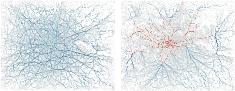 Graphic showing the modelled distribution of congestion in London
