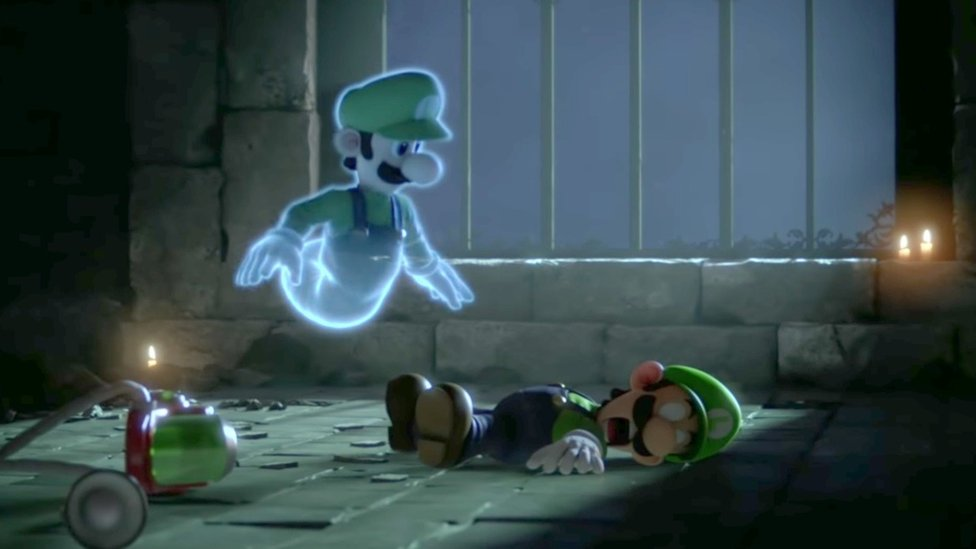Luigi's ghost hovers over his dead body