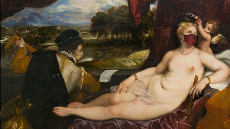 Titian's Venus and Cupid with a lute-player (1555-1565) is given a modern twist.
