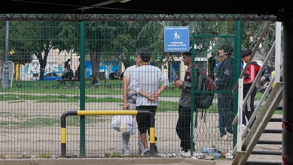 Migranti u centru Beograda