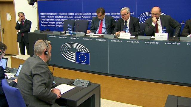 Reporter Giles Dilnot speak to Jean-Claude Juncker