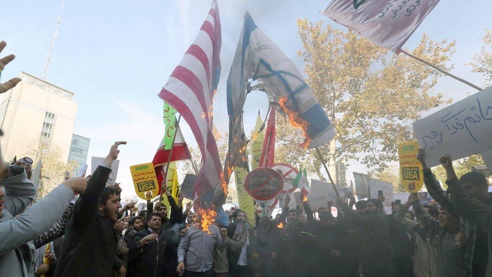 مظاهرة ضد الولايات المتحدة في طهران
