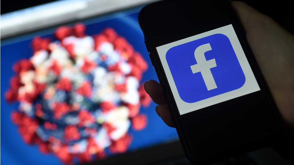 Fejsbuk i korona virus, ilustracija