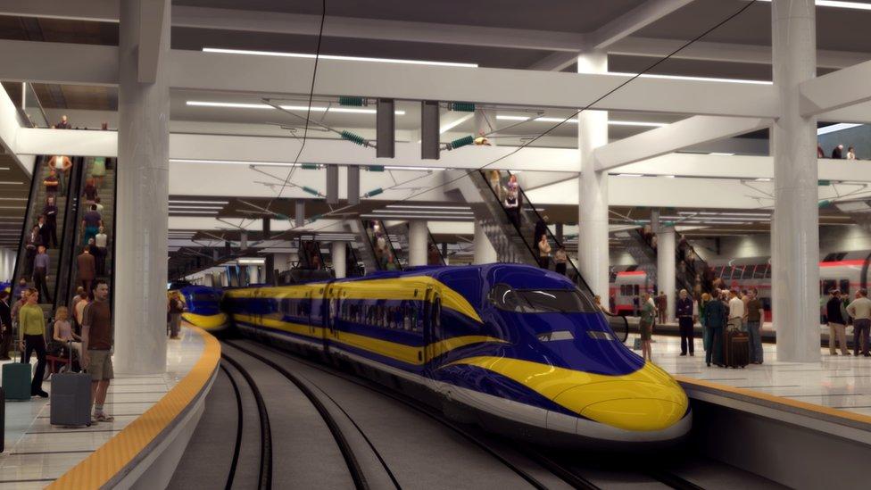 Una imagen proyectada en 3D del prototipo del tren