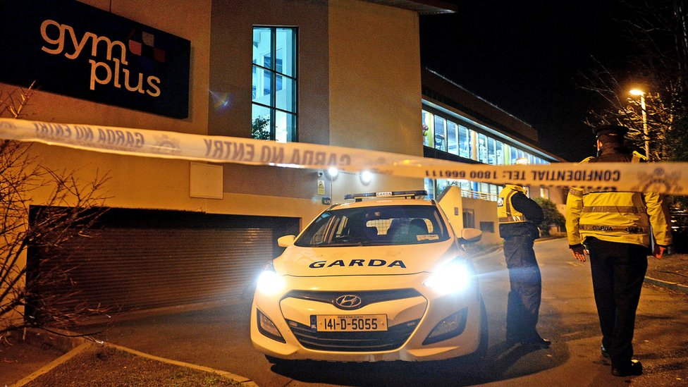 Garda officers at the scene of the shooting in Swords