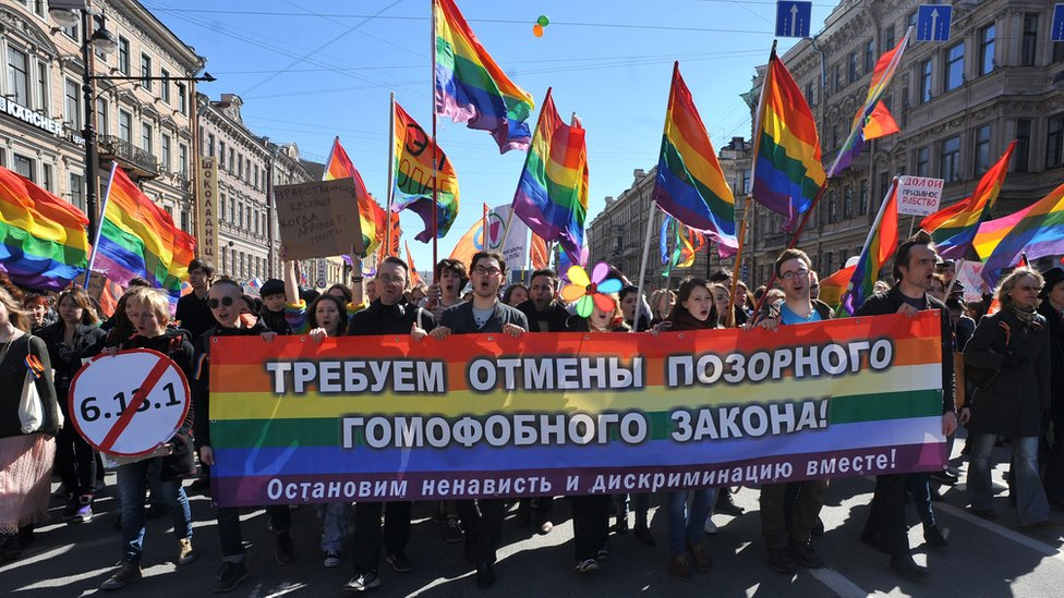 Gay rights protest in St Petersburg, May 2013
