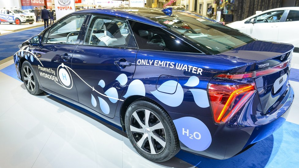 Toyota Mirai hydrogen fuel cell car on display at Brussels Expo on January 13, 2017 in Brussels, Belgium.