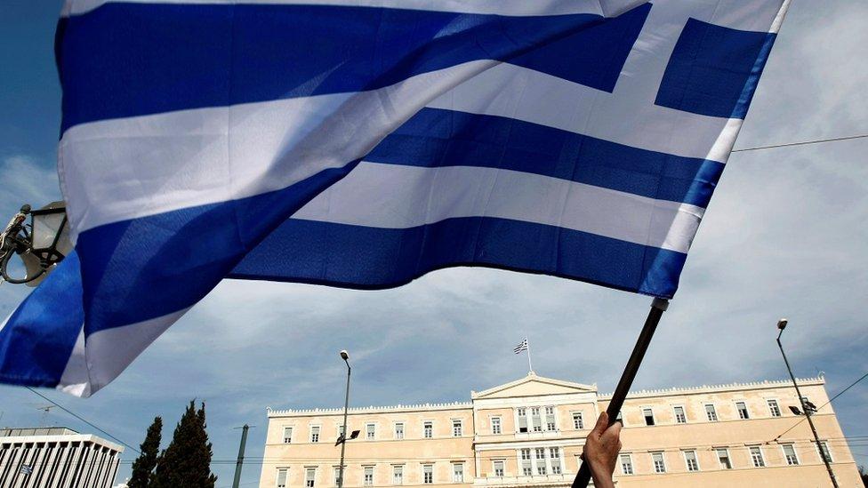 Bandeira da Grécia em Atenas
