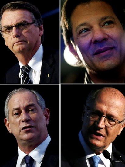 Jair Bolsonaro,,Fernando Haddad, Ciro Gomes y Geraldo Alckmin, candidatos presidenciales en Brasil