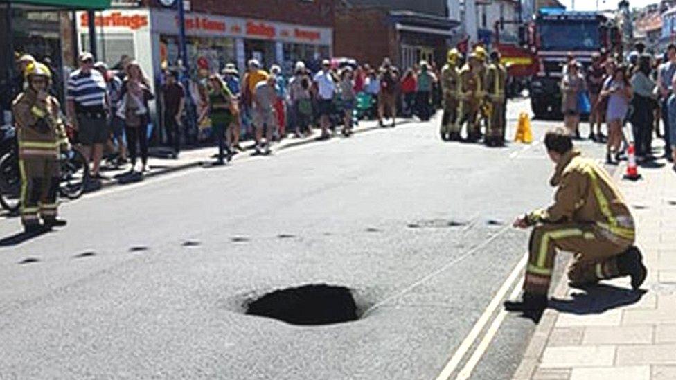 Sinkhole opens up on Sheringham High Street