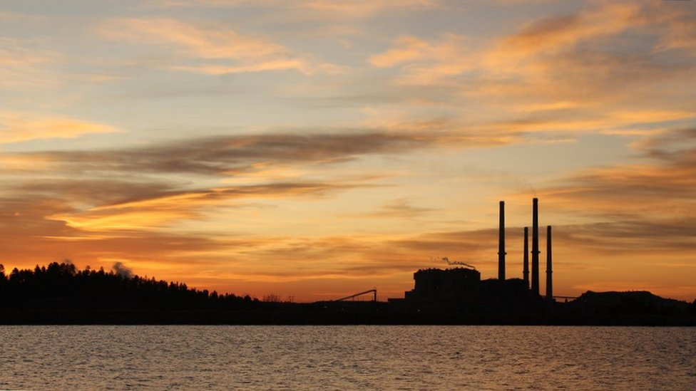 Colstrip power plant at sunset