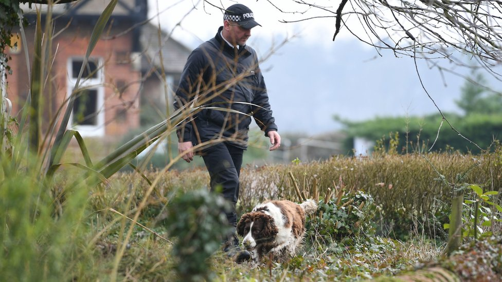 Police officer and dog at West Newton Village Hall