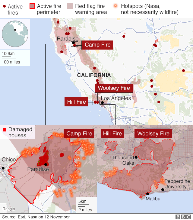 Map showing where the fires are
