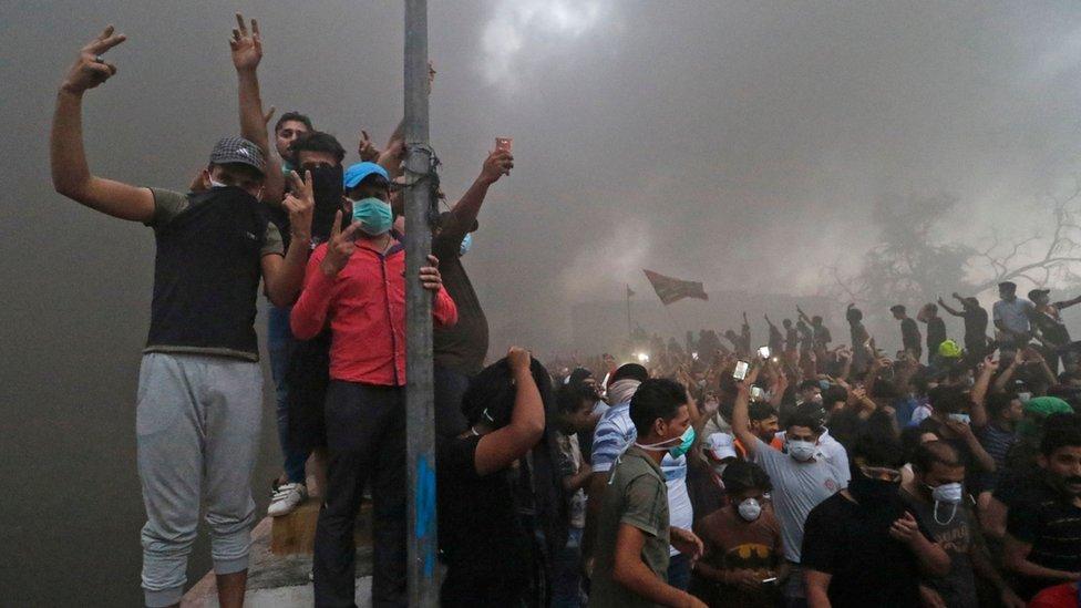 جانب من الاحتجاجات التي شهدتها البصرة الخميس