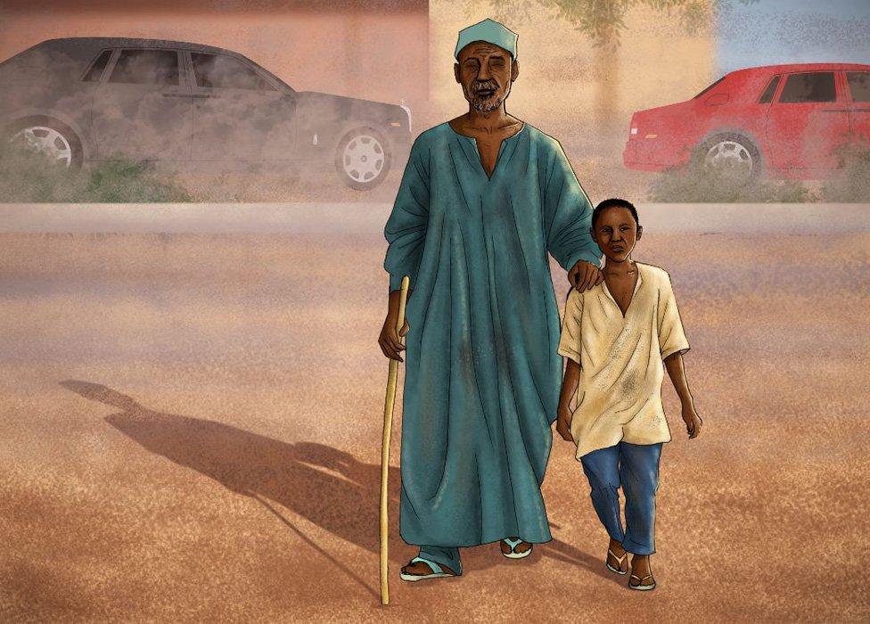 Ilustración que muestra a Samuel Abdulraheem como guía de un mendigo ciego.