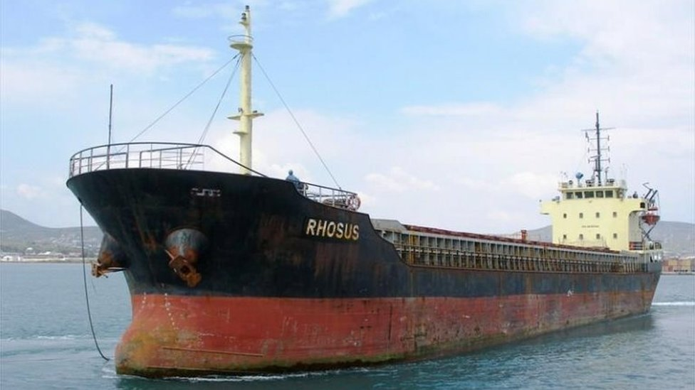 The MV Rhosus, pictured at a port in Greece (file photo)