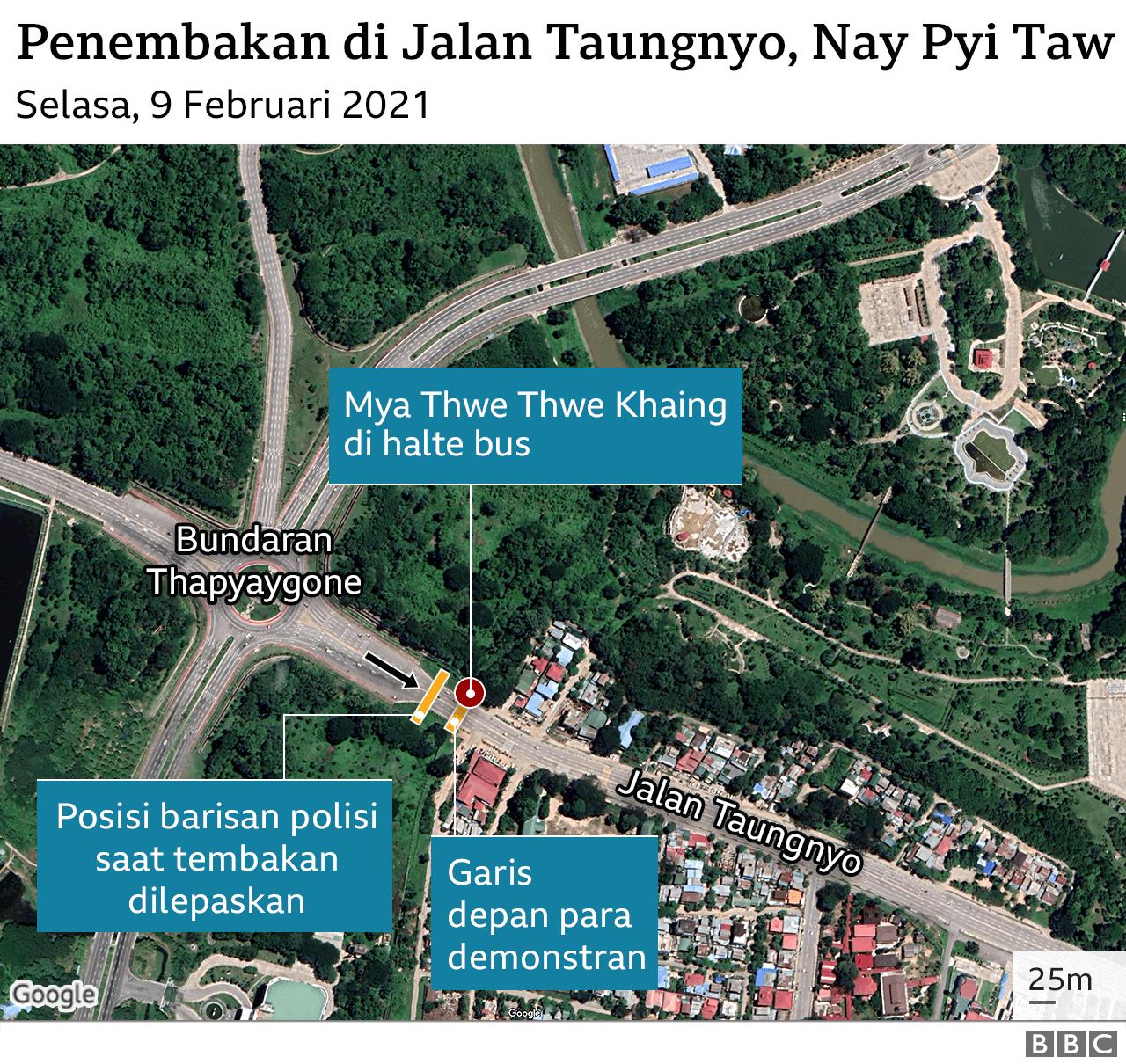 Peta tempat penembakan
