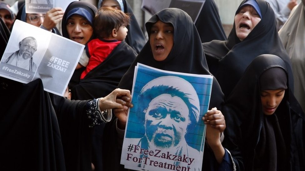 Protesters hold placard and shout slogans demand to release the Nigerian Ibrahim Zakzaky, next to the Nigeria embassy in Tehran, Iran, 17 July 2019. in December 2015