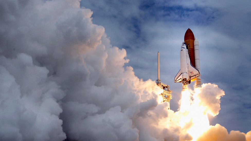 Space shuttle Atlantis blasts off from launch pad 39A at Kennedy Space Center July 8, 2011 in Cape Canaveral, Florida.