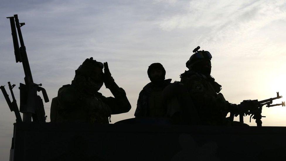 Soldados iraquíes en la frontera de Irak con Arabia Saudita.