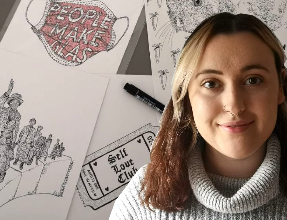 Shona Blair and some of her drawings