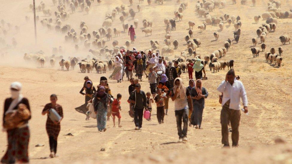 Izbegli Iračani, pripadnici Jazidi manjine, beže od boraca Islamske države u pravcu sirijske granice (11. avgust 2014)