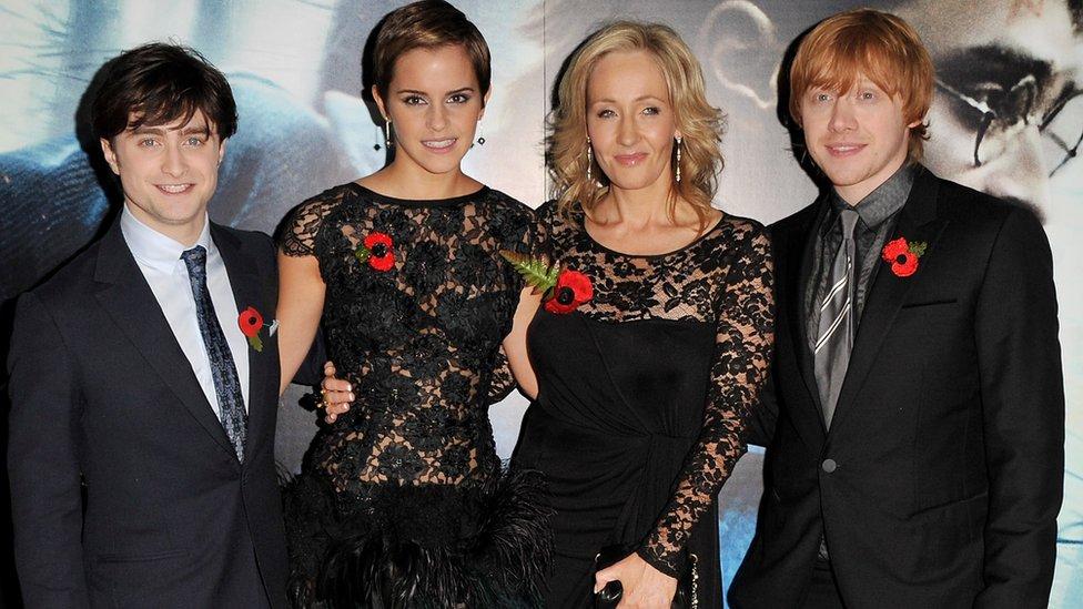 Daniel Radcliffe, Emma Watson, J K Rowling, Rupert Grint